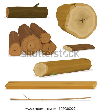 Wood Logs, Trunks And Planks Set/ Illustration of a set of cartoon wood material logs, planks, shelves, twigs and trunks