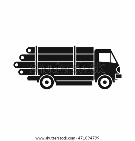 Wood lorry truck icon. Simple illustration of wood lorry truck vector icon isolated on white background