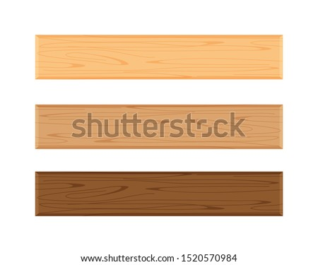 wood plank board isolated on white background, horizontal plank, planks wood brown various types vertical, empty wooden plank board for sign decoration, plank light brown and dark brown set