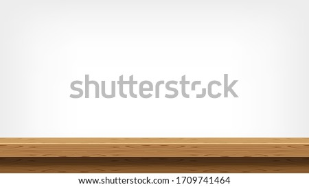 wood plank empty front view for background and copy space, blank table top wooden brown for decoration room, vintage wood plank for background, wooden table on grey wall, table wood plank front view