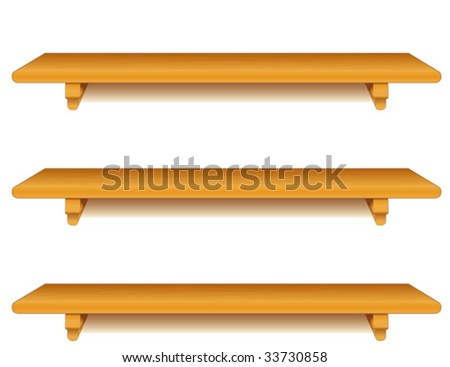 Wood Shelves, wall group of wide oak wood grain shelves with brackets, isolated on white background. Add your favorite books and treasures.  EPS8 compatible.