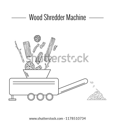 Wood Shredder Machine used for processing the wood waste for producing boiler fuel. Monochrome vector illustration. Icon.
