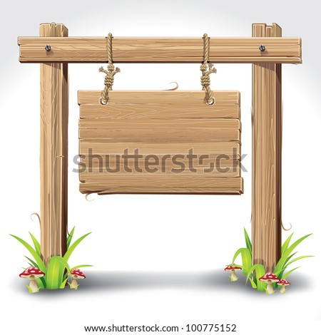 Wood Sign Board hanging with Rope on a grass and mushrooms. vector illustration