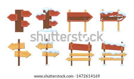 Wood signboards plank road blank empty summer and winter with snow. Road sign round, square, arrow shapes empty wooden vector illustration