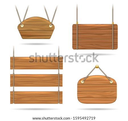 Wood signs and wooden boards. Empty realistic signboards with rope hanging, vintage antique blank board set isolated on white background