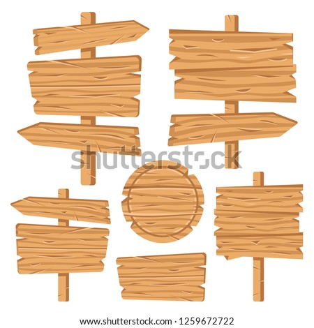 Wood signs set. Wooden boards, signposts, signages, plates, arrows. Brown planks. Blank wood signboards and banners. Vector illustration #1259672722