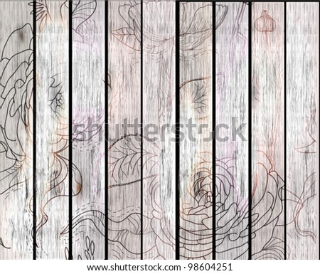 wood texture background with flowers,vector illustration
