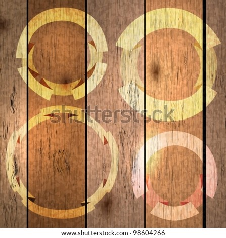 wood texture background with labels,vector illustration - stock vector
