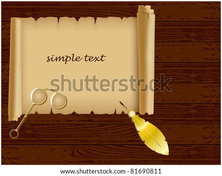 Wood texture background with on it unfolded the parchment, spectacles and gold feather