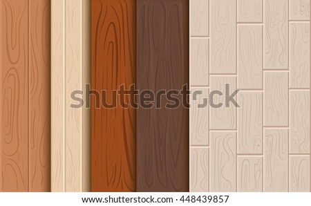 Wood Texture Vector Background Set Of A Tree Cartoon For Game Elements