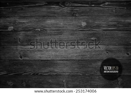 Wood texture, vector Eps10 illustration. Natural Dark Wooden Background.
