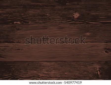 Wood texture, vector Eps10 illustration. Natural Dark Wooden Background.