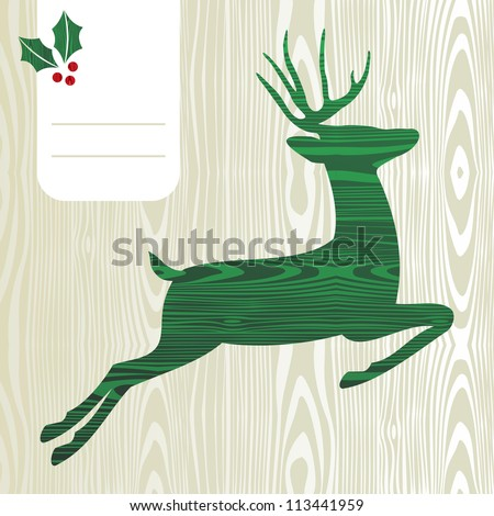Wood textured Deer with christmas decorations greeting card background. Vector file layered for easy manipulation and custom coloring.