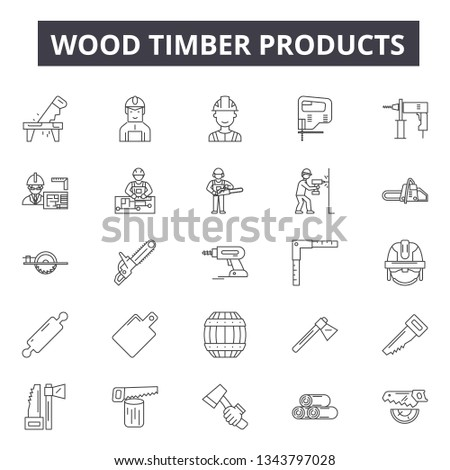 Wood timber products line icons for web and mobile design. Editable stroke signs. Wood timber products  outline concept illustrations