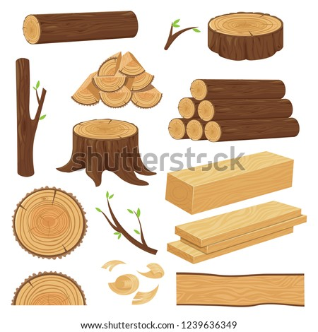 Wood trunks. Stacked lumber material, trunk twig and firewood logging twigs. Tree stump, old wooden plank or timber log for campfire. Cracked trunks isolated cartoon vector icons set