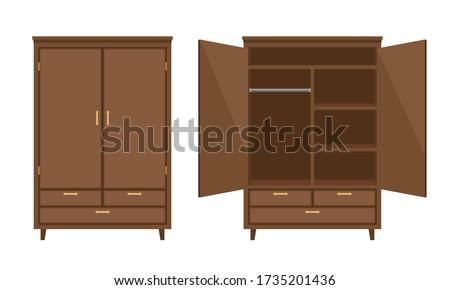 wood wardrobe wooden empty