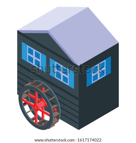 wood water mill icon isometric