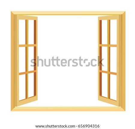 wood windows opening with white background | EZ Canvas