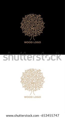 wood woman vector logo