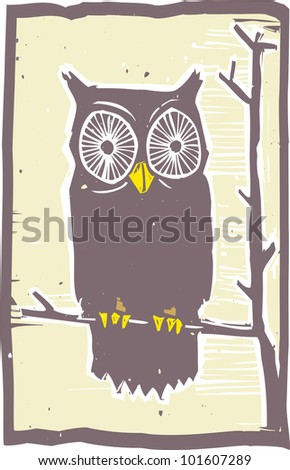 Woodblock print style owl in a tree.