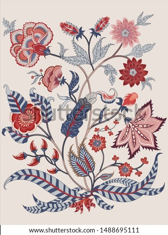 Woodblock printed  ethnic floral all over pattern. Traditional oriental motif of India Mogul with bouquets of scarlet red flowers on ecru background. Textile design. Stock photo ©