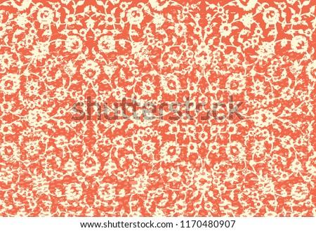 Woodblock printed orange seamless ethnic floral geometric border. Traditional oriental ornament of India Kashmir, flowers wave and arcade motif, beige  on orange background. Textile design. Stock photo ©