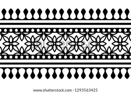 Woodblock printed seamless ethnic floral border. Traditional oriental ornament of India Kashmir, geometric flowers motif, black on white background. Textile design. #1293563425