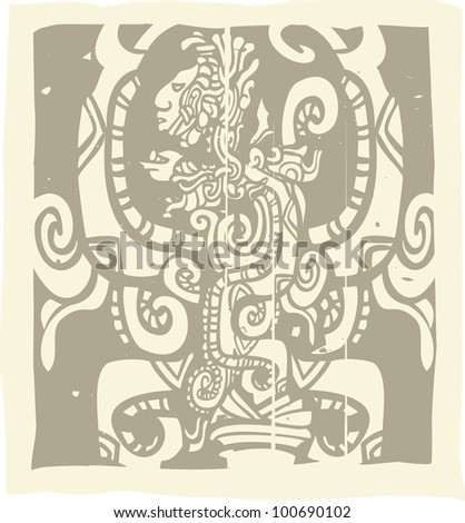 Woodblock style Mayan image with Vision Serpent