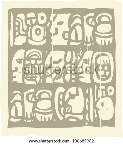 Woodblock style Mayan language in writing glyphs