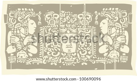 Woodblock style Mayan Triptych image with priests. - stock vector