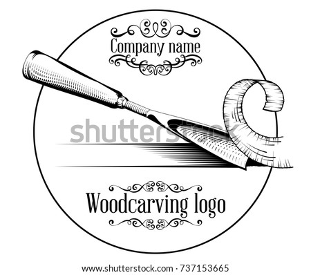 Woodcarving logotype Illustration with a chisel, cutting a wood slice, vintage style logo, black and white isolated.