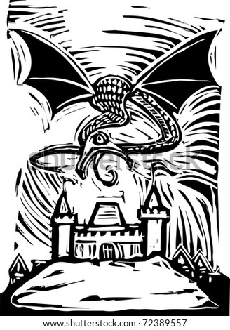 Woodcut Dragon shoots fire to burn down a castle