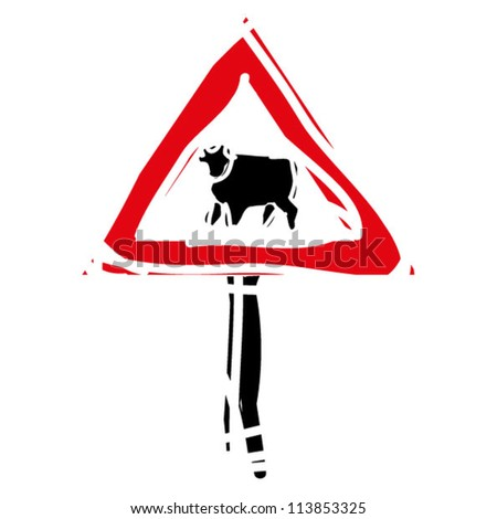 "woodcut engrave illustration of road sign ""cows"""