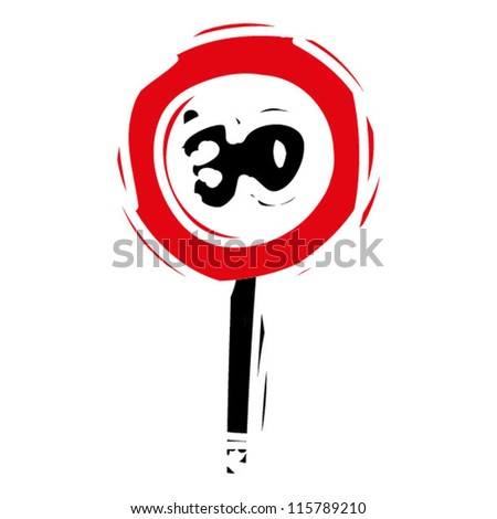 """woodcut engrave illustration of road sign """"speed limit 30"""" - stock vector"""