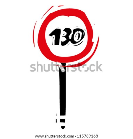 "woodcut engrave illustration of road sign ""speed limit 130"""