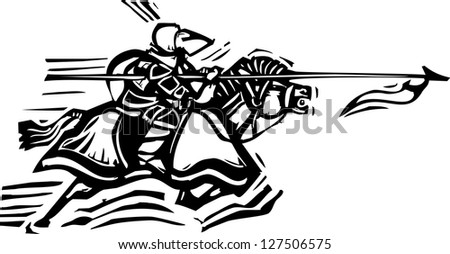Woodcut expressionist style image of a jousting knight - stock vector