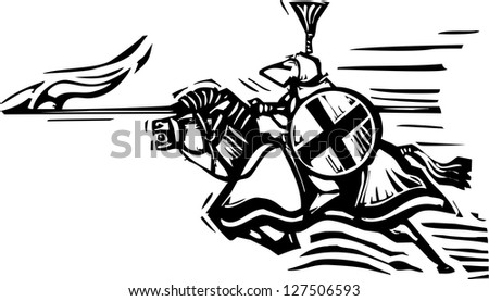 Woodcut expressionist style image of a jousting knight