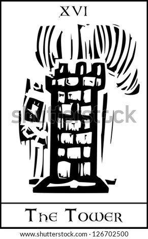 Woodcut expressionist style Tarot card for the number 16 the tower.