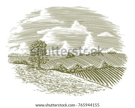 Woodcut illustration of a country scene.