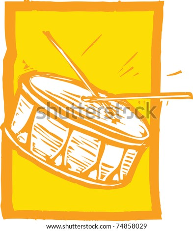 Woodcut image of a snare drum on an orange background.