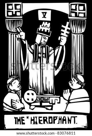 Woodcut image of the Tarot Card for the Pope