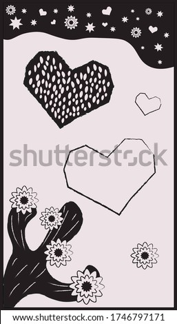 Woodcut in cordel style with hearts, cactus and starry sky.