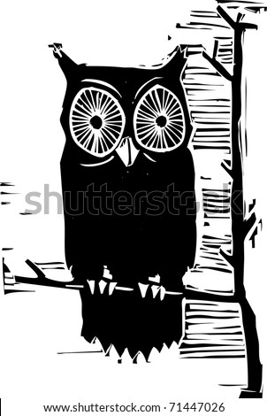 Woodcut owl in a tree looking at you.