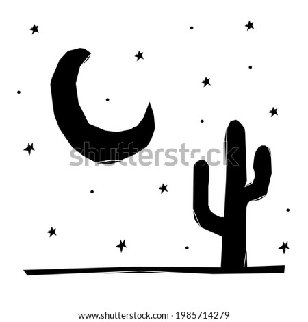 Woodcut-style drawings with moon and cactus. drawings for the traditional brazilian party of são joão.