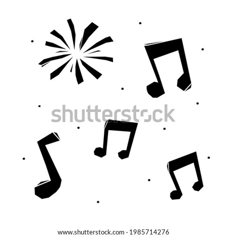Woodcut-style drawings with musical notes. drawings for the traditional brazilian party of são joão.