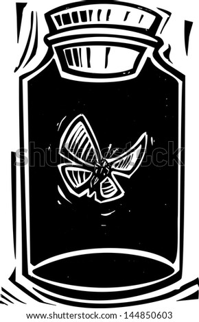 Woodcut style expressionist image of a butterfly in a killing jar.