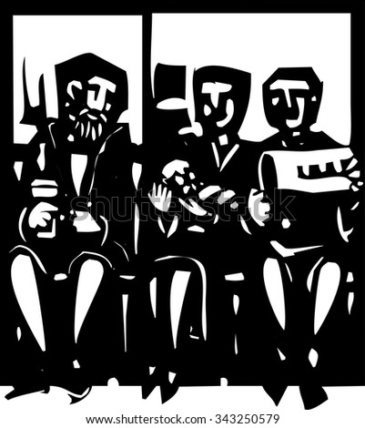 Woodcut style expressionist image of people waiting in a doctor's waiting room