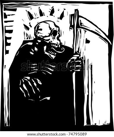 woodcut style Grim reaper with a scythe