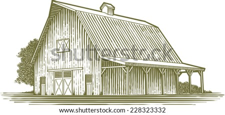 Woodcut Style Illustration Of A Barn