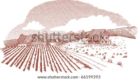 Woodcut style illustration of a farm landscape.